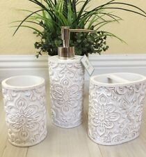 PERI 3Pc Bathroom Accessory Set-White Distressed/ Antique Carved Medallion Resin