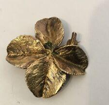Vintage Royal Flora Denmark Gold Washed 900 Silver 4 Leaf Clover Pin