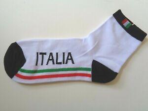 *NOS Vintage white Italian flag cotton cycling socks size medium (40-46)*