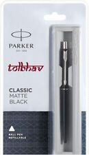 Parker Classic Matte Black Chrome Trim Ct Ball Point Pen Quink Blue Refill