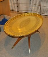 Antique brass tray table (oval)