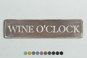 WINE O'CLOCK Vintage Style Wooden Sign. Shabby Chic Retro Home Gift