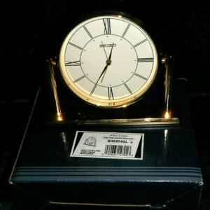 Seiko Brass Desk Clock REDUCED FROM $159.95 NIB Discontinued Gold Tone