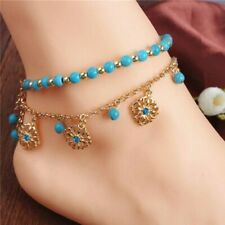 new lead and nickel free Turkish anklets gold and turquoise 2pcs