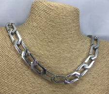 Vintage Halskette Aero Guss Metall Art Deco Stil Silvertone Kette Halsband