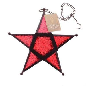 Hanging Glass Metal Five Pointed Star Candle Lantern, Blue, Clear, Green, Red