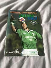2003 IRELAND V ITALY ITALIA WORLD CUP WARM UP INTERNATIONAL RUGBY PROGRAMME VGC