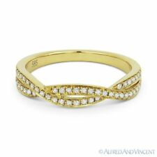 Yellow Gold Stackable Right-Hand Ring 0.19ct Round Diamond Anniversary Band 14k
