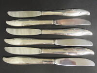 VINTAGE SET OF 6 SILVER PLATED CAROUSEL PATTERN ONEIDA COMMUNITY DESSERT KNIVES