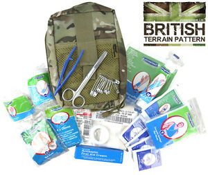 Army Combat Military Deluxe First Aid Kit Medical BTP Camo Travel Survival Pouch