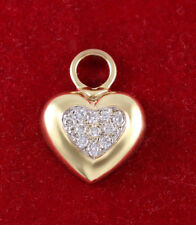 14k Diamond Heart Shape Pendant Charm 585 Yellow Gold 0.33 Carat Round Diamonds