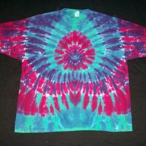 4X Tie Dye T-Shirt Tropical Sunburst 4XL XXXXL Handmade Tye Dyed Hippie