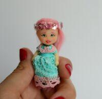Micro mini doll 1:12 dollhouse miniature Custom - OOAK doll repaint