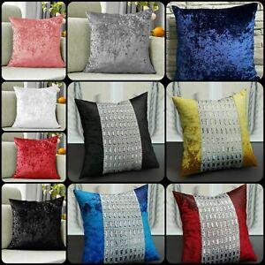 New Modern Diamante Crushed Velvet Sparkle Bling Cushion Cover all colours