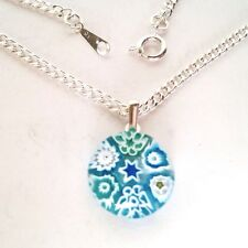 Turquoise Glass Flower Pendant Nacklace. Silver Chain with Murano Millefiori