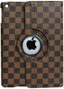 """Apple iPad 10.2"""" (7th & 8th gen) - Brown Checkered Plaid Stand Cover Case Pouch"""