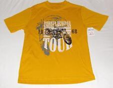 NW FADED GLORY YELLOW MOTORCYCLE T-SHIRT-S 6/7 BOY-SHORT SLEEVE TEE SHIRT HARLEY