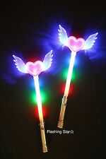 12 PACK Light-Up Princess Wand Fairy LED Scepter Magic Heart Stick Flashing Toy