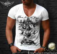 Mens White T-shirt Skeleton Prayer Cool Deep V-neck Fashion Unique Designer 685