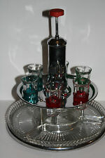 Stainless Steel Bar Set w/ Shot Glasses, Snack Dishes, Glass Decanter w/ Plunger