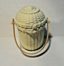 Retired PartyLite P7124 Ivory Bisque Nantucket Basket Tealight Candle Holder