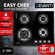 Devanti Gas Cooktop 60cm 4 Burner Ceramic Glass Cook Top Stove Hob Cooker LPG NG