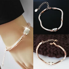 1 PC Fashion Elegant Rose Gold Metal Chain Charm Bangles Bracelet Women Jewelry