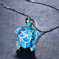 Fashion Woman Opal Fire Charm 925 Silver Necklace Jewelry Turtle Pendant Chain