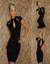 Sz 10 12 Black Cap Sleeve Floral Bodycon Formal Party Wear Slim Sexy Mini Dress