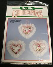 Satin BUCILLA CHRISTMAS Lace Ornaments STAMPED EMBROIDERY KIT 82753 UNOPENED NEW