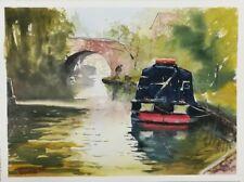 Cropredy Oxford canal narrow boat bridge Fine Art Original Watercolour Painting