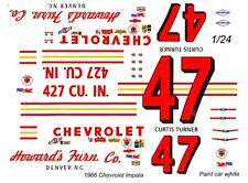 #47 Curtis Turner Howards Furniture Chevrolet 1966  1/24th Scale Decals