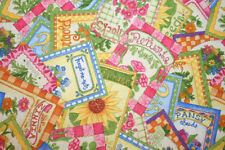 "2 YD 16"" EOB ""PATCHWORK GARDEN"" COUNTRY FLOWER GARDEN & SEED PACKET FABRIC"