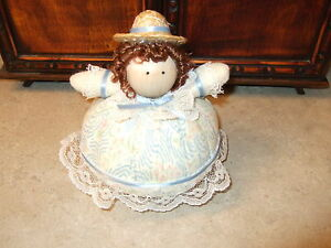 Pincushion Doll Dressed In Blue & Ivory Floral Dress  - Handmade #59 - NEW