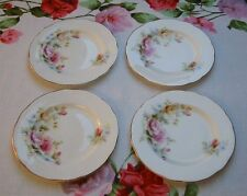 4 VINTAGE DUCHESS BONE CHINA CAKE TEA PLATES Floral Pink & Yellow Roses & Gilded