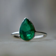 925 Solid Sterling Silver Ring Emerald Ring May Birthstone Ring Gift for her