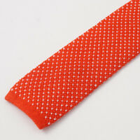New $265 KITON NAPOLI Red and White Jacquard Dot Knit Extrafine Linen Tie