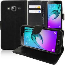 Funda protectora para Samsung Galaxy J3 (2016) J320f Móvil cartera con tapa negro