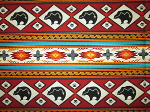 Navajo Native American Totem Wolf Drm Catcher Border Terra Cotton Fabric BTHY