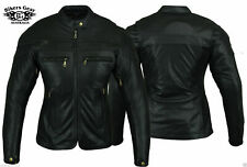 Womens Ladies Leather Motorbike Motorcycle Jacket With CE Armour Biker Sturgis