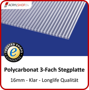 Stegplatten Doppelstegplatten Hohlkammerplatten PC klar 16 mm - 15,30 €/m²