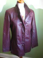 Ladies oxblood burgundy red real leather JACKET BLAZER UK 14 12 long line smart