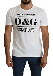 DOLCE & GABBANA T-shirt White DG King Of Love Print Cotton Top IT50/US40/L $350