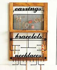 Wooden Wall Hanging Jewelry Organizer Storage For Earrings Bracelets Necklaces