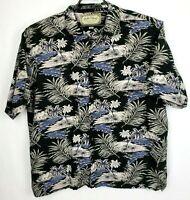 Palm Island Mens Black Blue Palm Tree Full Button Up Hawaiian Shirt Size XL
