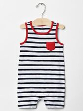 Gap Baby Boy Size 0-3 Months Blue / Red Nautical Tank One-Piece Bodysuit Romper