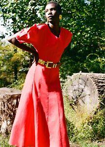 Mara Hoffman Sicily Red Hemp Midi Dress Size 2 NWT