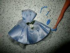 Barbie💖Clothes-Disney Princess-Fairy-Light Blue Dress-Crown-Shoes-Lot B54