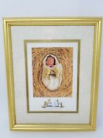 Vintage Anne Geddes The Nativity Manger Animals Baby Picture Matted Framed