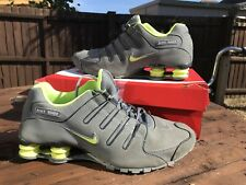 Nike Shox Trainers Grey & Green running walking Shoes Mens Uk 9.5 Eur 44.5 VGC